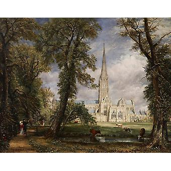Salisbury Cathedral from the Bishop's, John Constable, 50x40cm