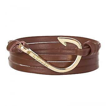 Holler Kirby  Gold Polished Hook / Brown Leather Bracelet  HLB-04GDP-L04