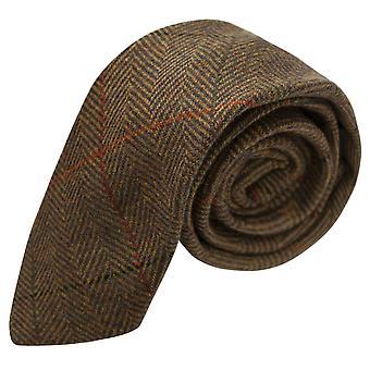 Luxury Dijon Herringbone Check Tie, Tweed