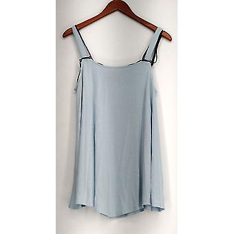 Kate et Mallory Top Sans manches Pointed Hemline Black Cord Blue A433240
