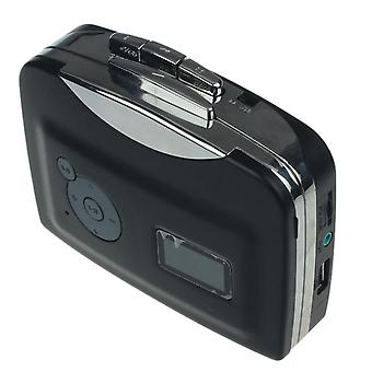 Cassette player record player portable tape to audio mp3 format converter to usb flash drive - black