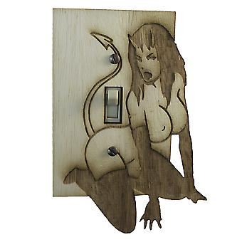 Devil woman switch plate - raw wood - 4.3