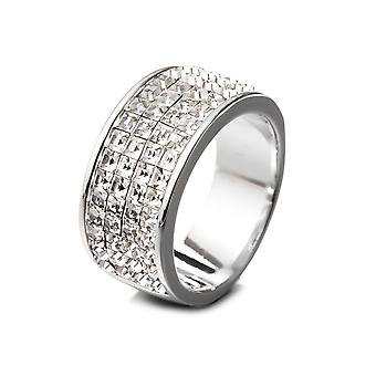 Kvinners ring utsmykket med White Swarovski krystaller og Rhodium plate