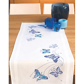 Blue Butterflies Table Runner Stamped Embroidery Kit-16