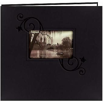 Embossed Leatherette Postbound Album With Window 12