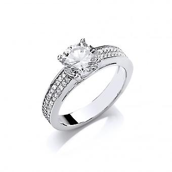 Cavendish French Cubic Zirconia Solitaire Ring with CZ Set Shoulders