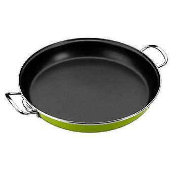 Monix Paella pan 36 cm  Lima  Enameled Steel Verde. suitable Induction