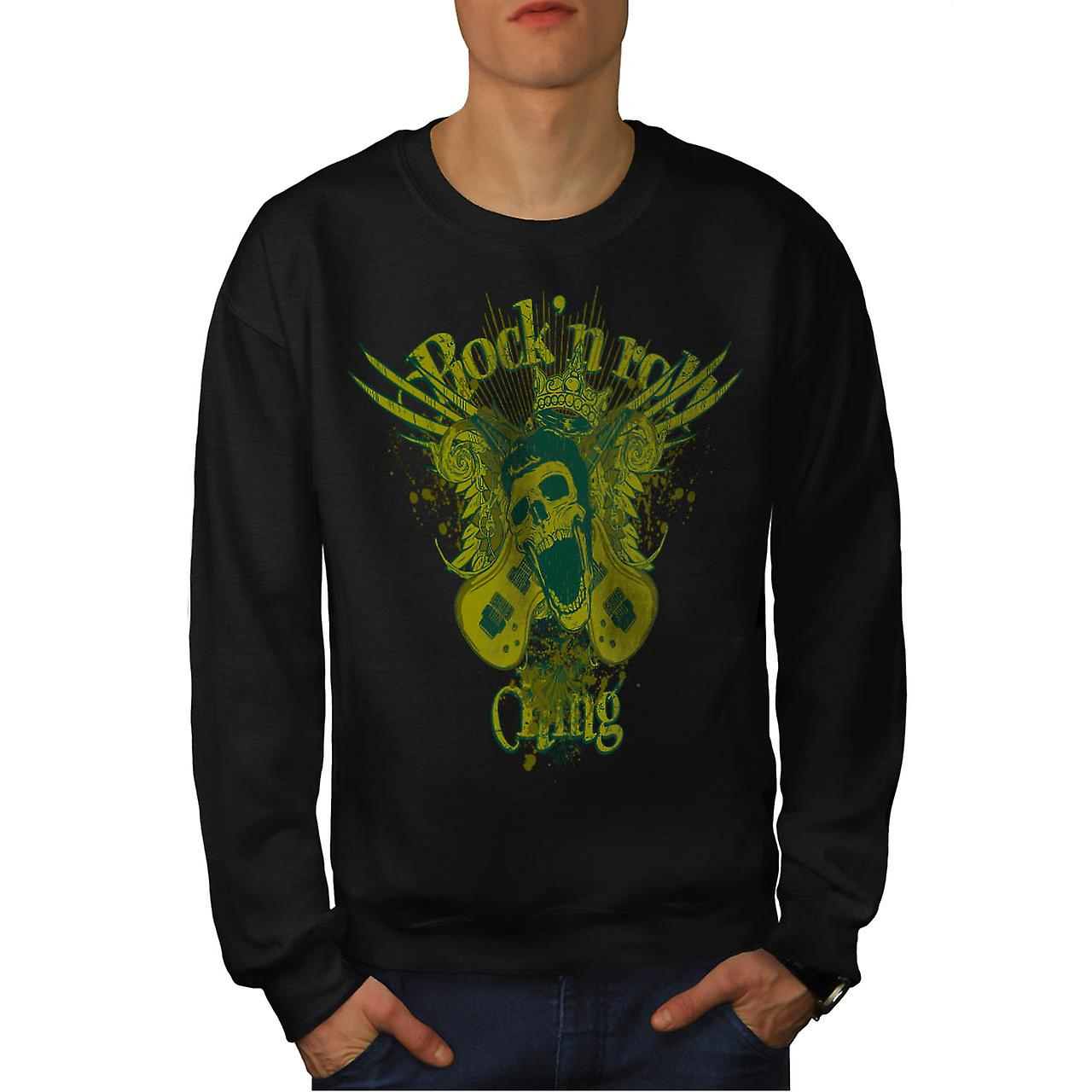 Rock N Roll Gang Music Guitar Skull Men Black Sweatshirt | Wellcoda