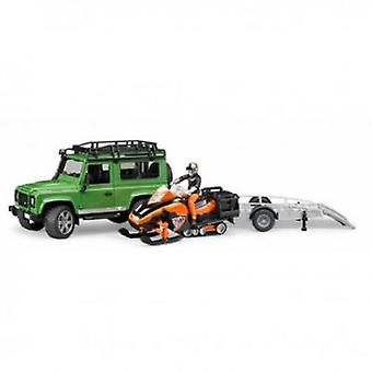 Bruder Land Rover Defender Sw With Trailer And Snow Moto