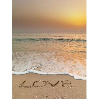 Sand writing - Word Love written on beach Poster Print by  Assaf Frank