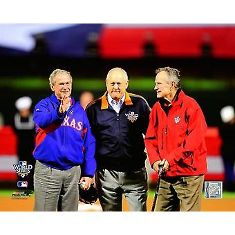 George HW Bush Nolan Ryan & Bush gioco quattro della stampa di foto 2010 MLB World Series