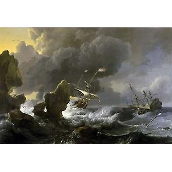 Dutch Merchantmen Driven onto a Rocky Coast in a Storm Poster Print by  Ludolf Backhuysen
