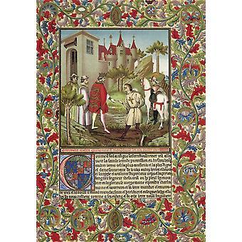 Guillaume De Mandeville3Rd comte d'Essex (1ère création) mort en 1189 Meets roi Richard I coeur de Lion en face d'un château Français du XIXe siècle chromolithographie après une Page enluminée de Cent 14ème
