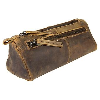 Green country Montana Buffalo leather zipper pouch pencil cases