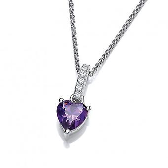 Cavendish French Sparkly Little Amethyst Cubic Zirconia Drop Heart Pendant