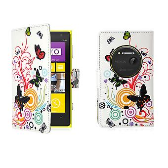 Design book PU leather case cover for Nokia Lumia 1020 - Colour Butterfly