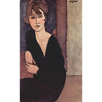 Amedeo Modigliani - Woman in black leaning Poster Print Giclee