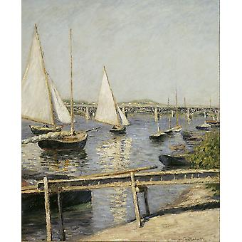 Gustave Caillebotte - Sailing Boats at Argenteuil Poster Print Giclee