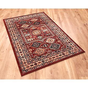 Kashqai 4306-300 nuances de rouge, roux, jaune et vert. Rectangle tapis couvertures traditionnelles