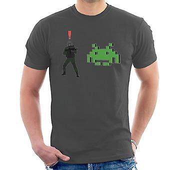 Metal Gear Solid Enemy Soldier Alert Space Invaders Men's T-Shirt