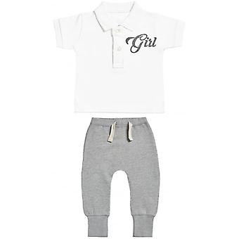Verwöhntes faule Mädchen Design Baby Polo T-Shirt & Baby-Jogger-Outfit-Set