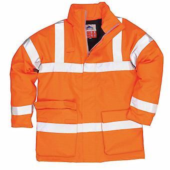 Portwest - Bizflame especialista en seguridad-Vis antiestático FR chubasquero con capucha