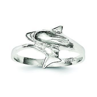 925 Sterling Silber solide poliert Delphin Ring - Ringgröße: 6 bis 8