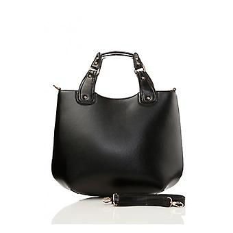 The Fashion Bible Black Faux Leather Tote Boat Bag