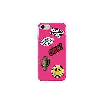 Puro iPhone 8/7, Patch Mania Cover, 5 Patches, rosa