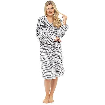 Supersofte Warm weiße Tiger Damen Fleece mit Kapuze Wrap über Bademantel Morgenmantel