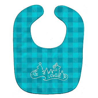 Carolines Treasures  BB6974BIB Christmas Tree Reindeer Blue Baby Bib