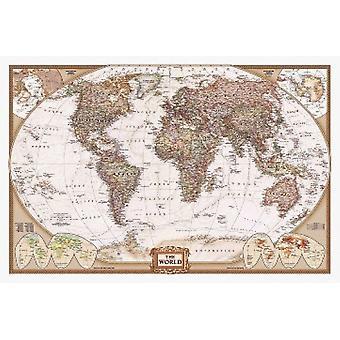 Världen karta affisch affisch Skriv