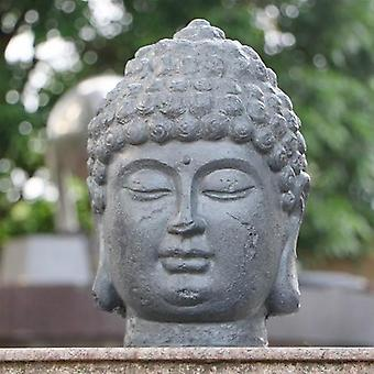 Solstice Sculptures Buddha Head Grey Charcoal Effect Statue