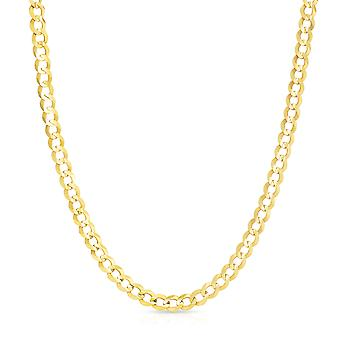 10k Yellow Gold Mens Thick Solid Curb Cuban Link Chain Necklace, 0.2 Inch (6mm)