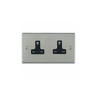 Hamilton Litestat Hartland lyse rustfritt Chrome 2g 13A Unswitched Socket BL