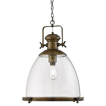 Antique Brass Industrial Pendant With Clear Glass Diffuser - Searchlight 6659