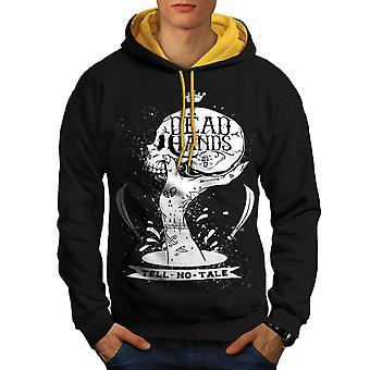 Dead Hand Goth Men Black (Gold Hood)Contrast Hoodie | Wellcoda