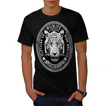 Wildlife Tiger Vintage Men BlackT-shirt | Wellcoda
