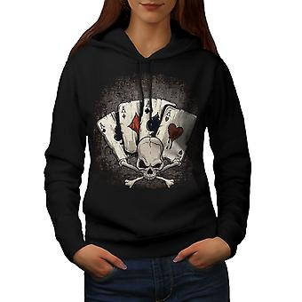 Poker Card Casino Skull Women BlackHoodie | Wellcoda