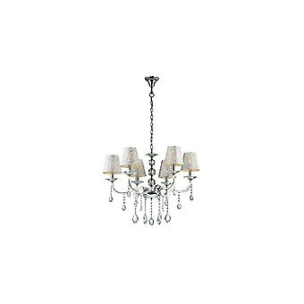 Pantheon Silver Finish Six Light Chandelier With Glass - Ideal Lux 88051