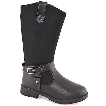 Neonato ragazze metà polpaccio fibbia all'interno Zip suola guida Biker Boots scarpe antiscivolo
