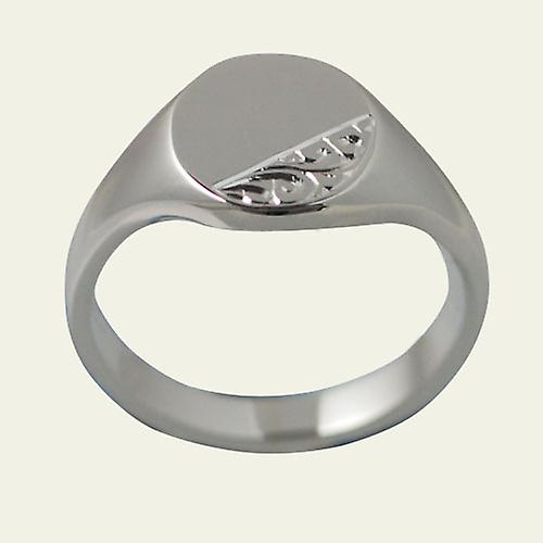 Silver 14x12mm hand engraved solid oval Signet Ring Size R