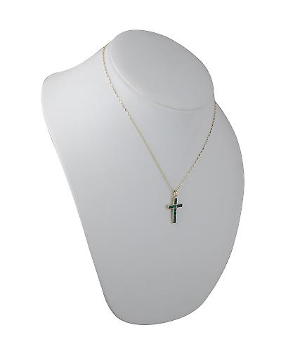 9ct Gold 25x16mm Apostle's Cross set with 12 Green Agate with a belcher chain