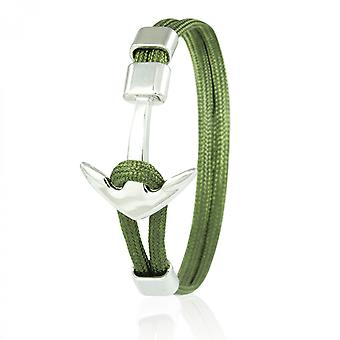 Skipper anchor bracelet 21 cm nylon arm jewellery in olive with silver anchor 6955