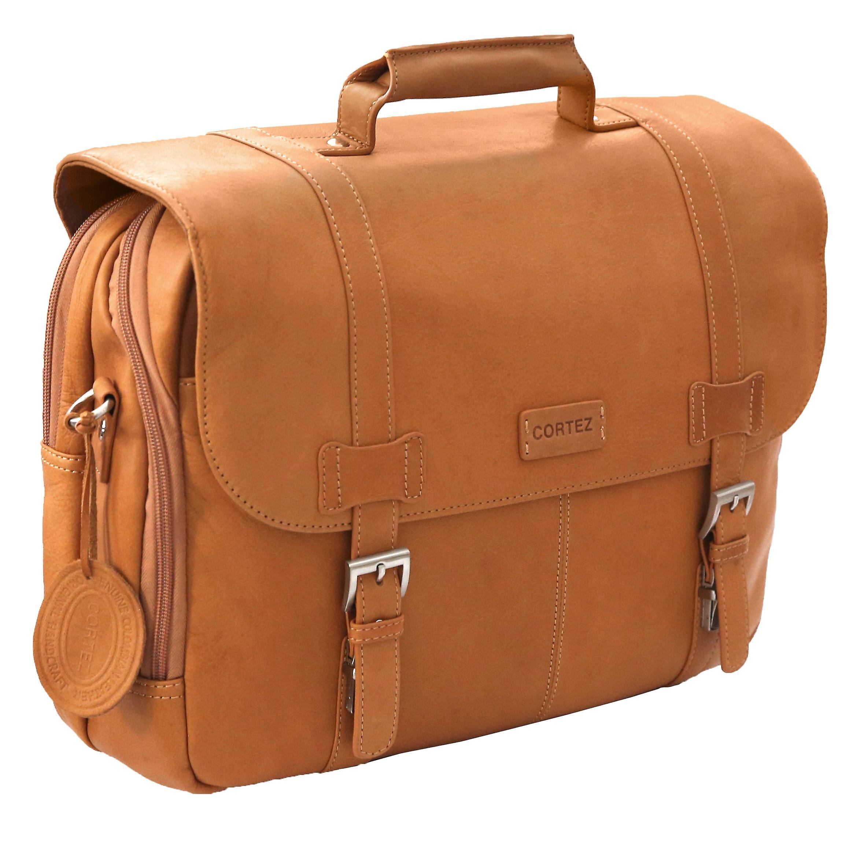 Cortez Colombian Leather Flapover Briefcase 15.6 Inch Laptop Business Shoulder Bag