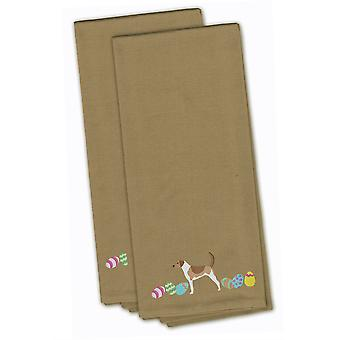 American Foxhound Easter Tan Embroidered Kitchen Towel Set of 2