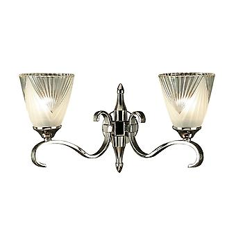 Interiors 1900 63455 Columbia 2 Light Wall Fitting In Nickel Finish Wi