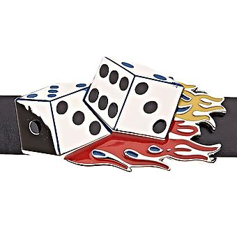 Iced out bling DICE ON FIRE belt