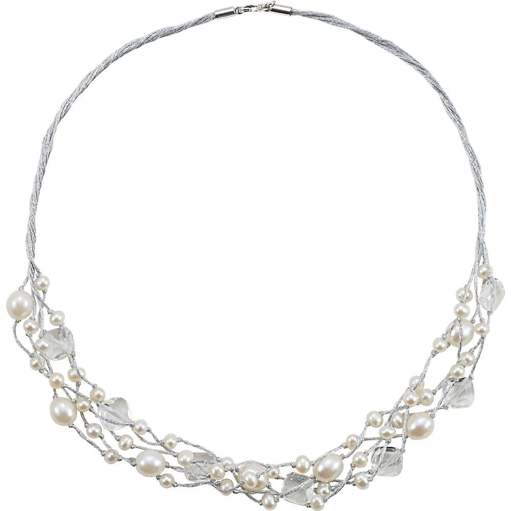 Sterling argent Freshwater Culturouge Pearl and Crystal collier 5-5.5mm 8.5-9mm 10.25x10.25mm