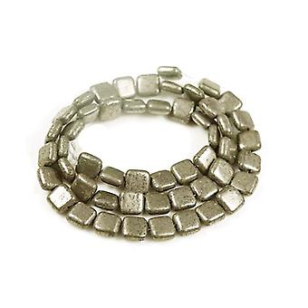 Strand 30+ Pale Gold Pyrite 12mm Puffy Square Beads GS6097